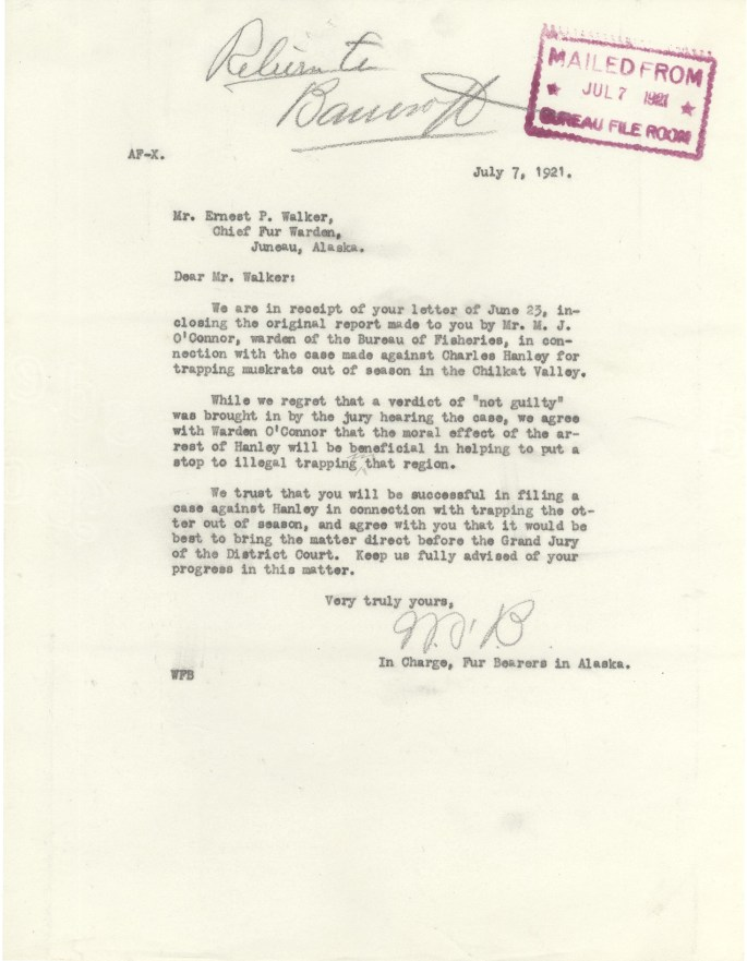 Letter from MB in response to report sent by Ernest Walker from Warden O'Connor