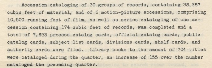 Activities of the NA, Jan. 1939 - Work of Div. of Cataloging, pp. 4-5