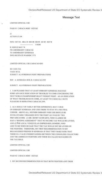 Telegram from American Embassy Caracas subject: Ali-Foreman Fight Preparations