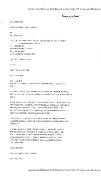 Telegram from American Embassy Kinshasa subject: Accreditation of Journalists for Ali-Foreman Fight