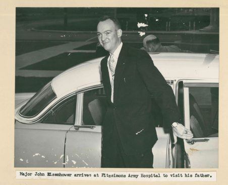 Son John Eisenhower arriving October 27, 1955 from his Virginia duty station to spend the week with his parents.