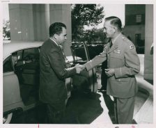 """""""Major General Martin E. Griffin greets Vice President Richard Nixon as he arrives at Fitzsimons Army Hospital to call on President Eisenhower, October 8, 1955."""""""