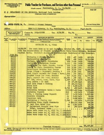 Voucher detailing the line item costs of the driveway construction.