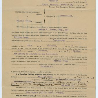 Conviction of William Greene/Bertha Reed of Fornication, 12/12/1907