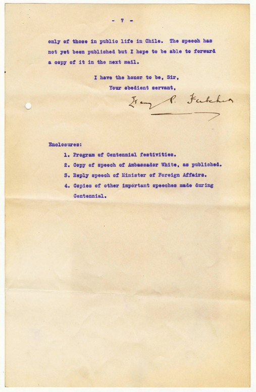 Image of the last page of a despatch.