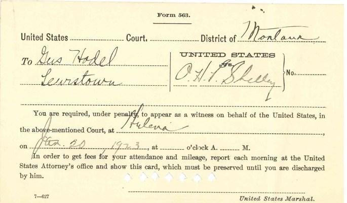 "Image of Subpoena card requiring Hodel to testify. ""Criminal Case Files, 1889-1961"" NAID 298174, Box 6763"