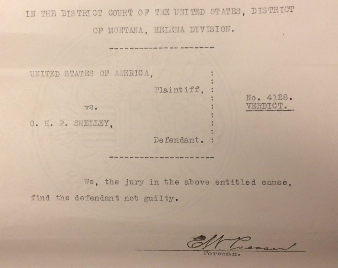 """Image of Verdict finding Shelley not guilty. """"Criminal Case Files, 1889-1961"""" NAID 298174, Box 6763"""