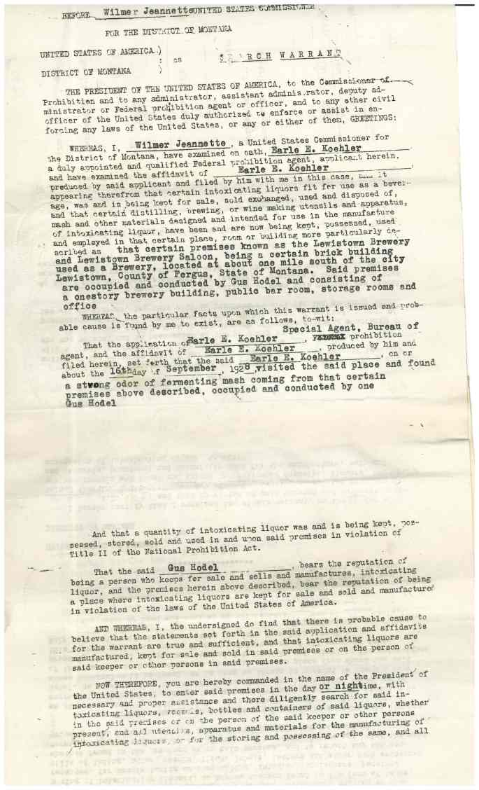 """Image of Search warrant for Lewistown Brewing Company """"Criminal Case Files, 1924-1968"""" NAID 568166, Box 41"""