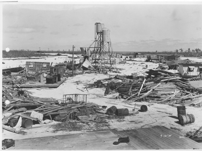 Photograph of the camp after the Labor Day Hurricane hit.