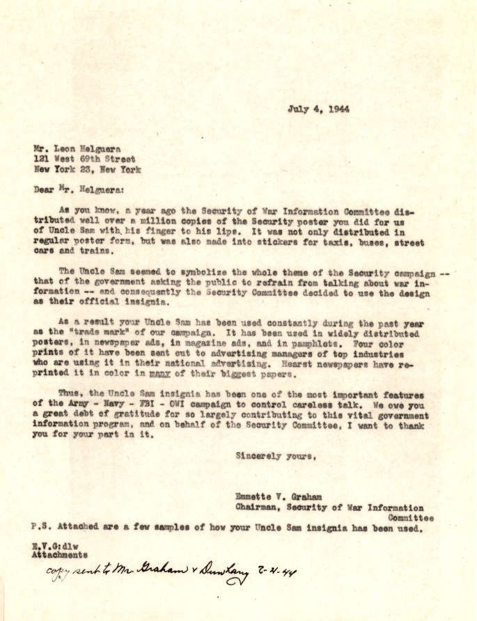 Letter from Emmette V. Graham to Leon Helguera, July 4, 1944.