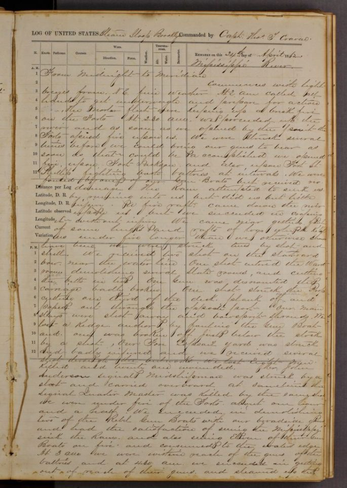 page from the logbook of the USS Brooklyn, handwritten text