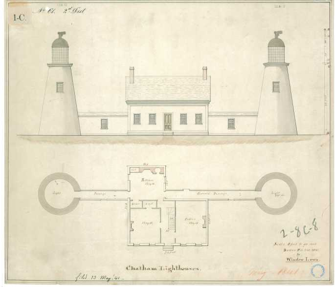 Architectural Drawing of a lighthouse showing a plan and elevation view. National Archives Identifier: 85967585