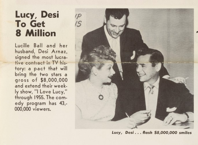 """""""Lucy, Desi to Get 8 Million"""" w/picture of Desi Arnaz & Lucille Ball smiling at each other"""