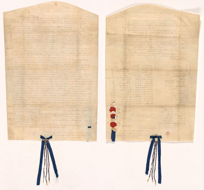 Front and back of treaty with ribbon at bottom