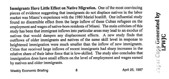summary of studies showing that influx of immigrants not displacing native born workers