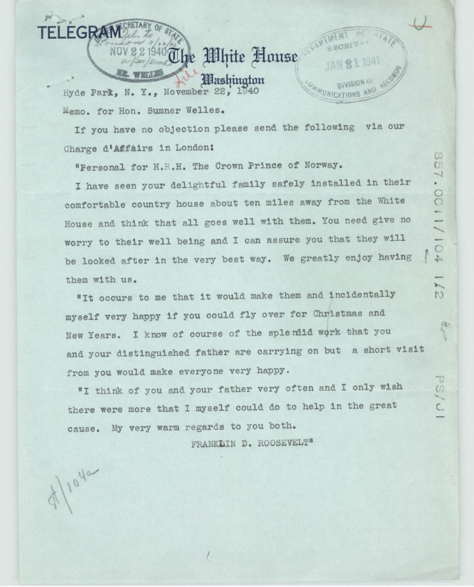 FDR writes to Crown Prince of Norway insisting he fly to DC for Christmas as it would make his family happy