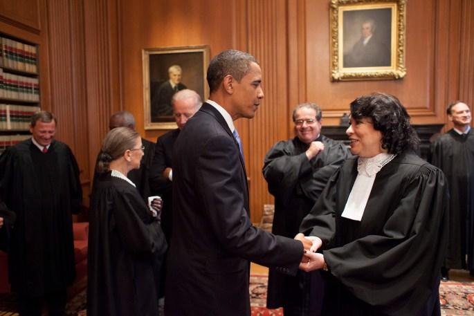 Obama and Sotomayor shake hands