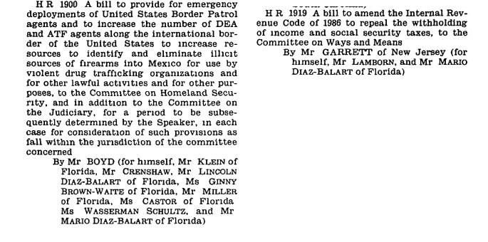 record of Diaz-Balart sponsoring legislative bills