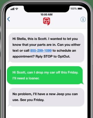 text2drive service parts mobile messaging service