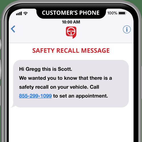 message de rappel de sécurité text2drive sur mobile