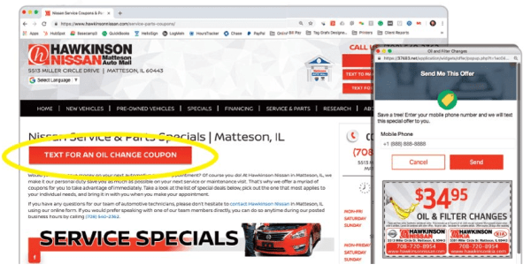 hawkinson nissian uses text2drive's interactive website features to generate revenue