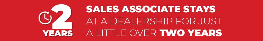 average sales associate stays at a dealership for just a little over two years