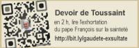 Devoir de vacances de Toussaint : prendre 2 heures pour lire l'exhortation du pape François sur la sainteté. Cela fera du bien à votre âme !