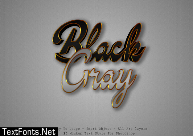 3d black and gray text style effect