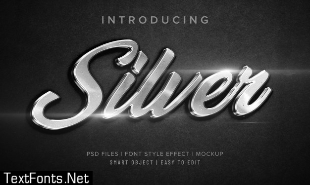 3d silver font style effect mockup