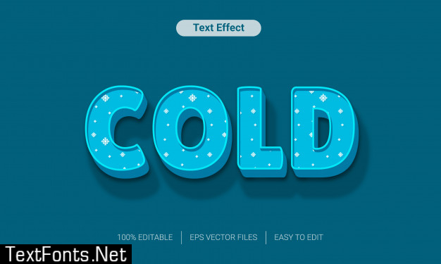 Blue cold snow  text style effect