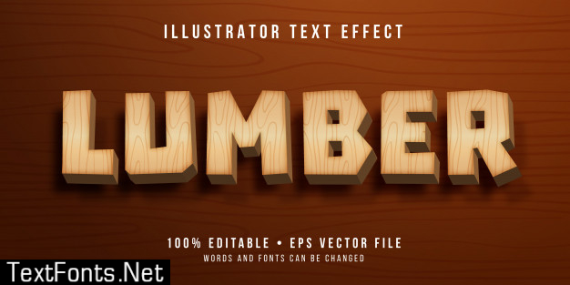 Editable text effect - wooden style Premium Vector