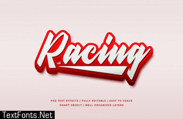 Racing 3d text style effect premium psd