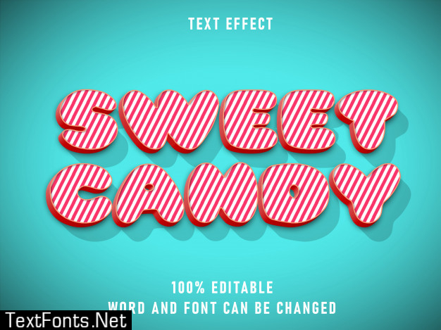 Sweet candy text style text effect editable color with grunge style retro