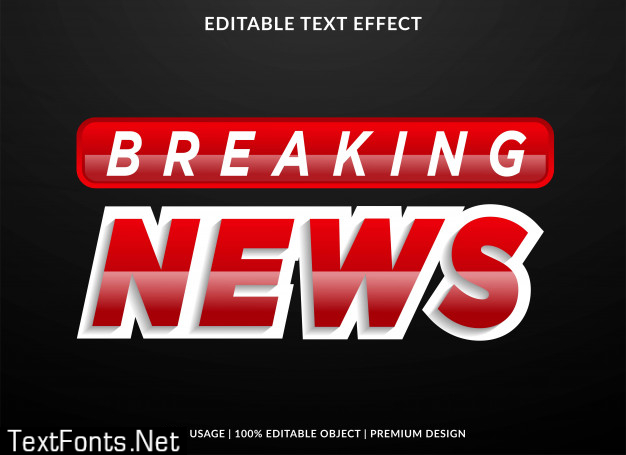 Breaking news text effect with bold style