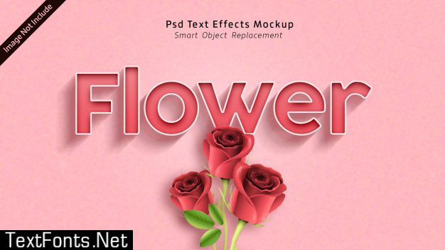 Flower 3d text effects mockup