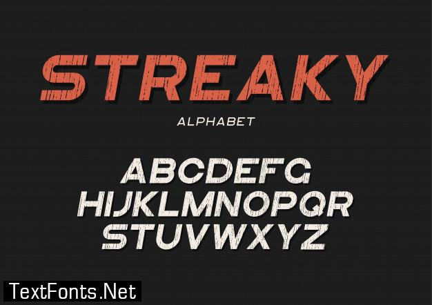 Streaky decorative textured bold font with grunge effect.