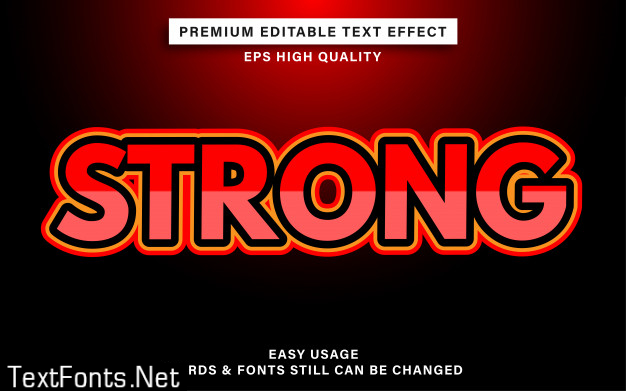 Strong red editable text style effect