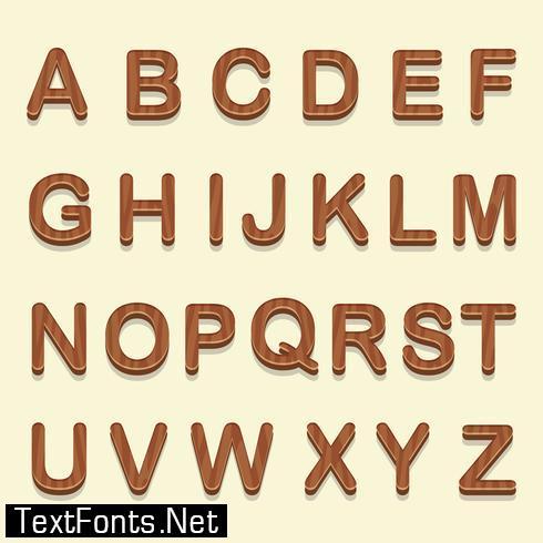 3D Wooden Fonts Vector