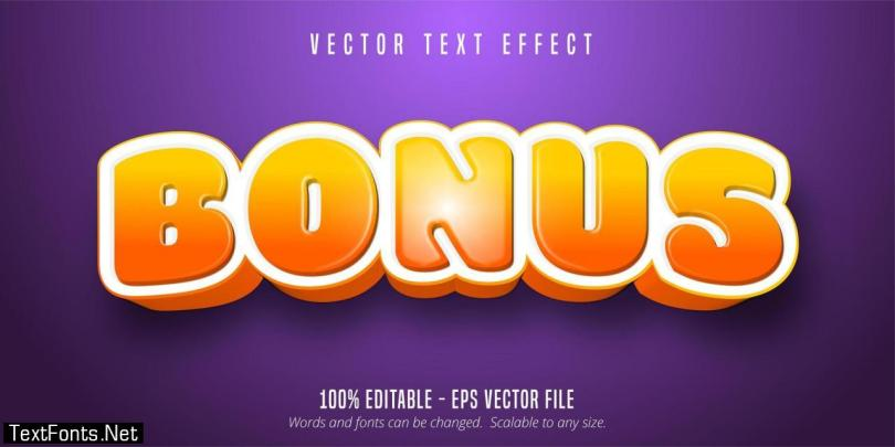 Bonus glossy orange gradient game style text effect