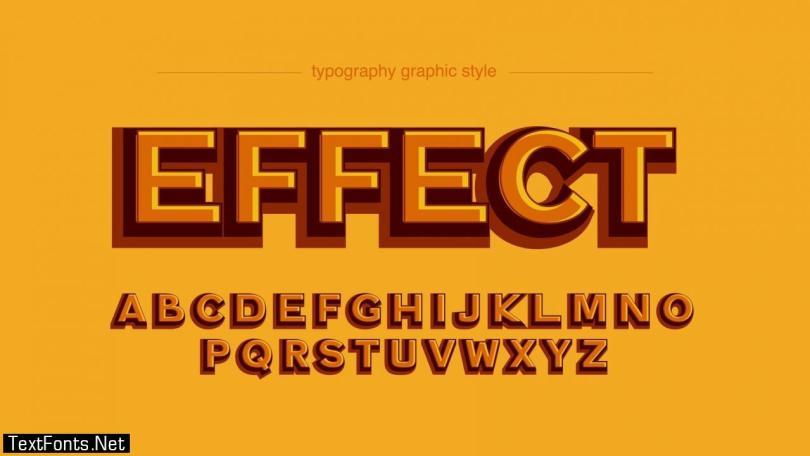 Orange Bold 3D Effect Typography