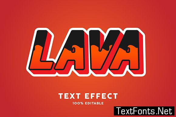 Text Effect - Red Lava Sticker Modern