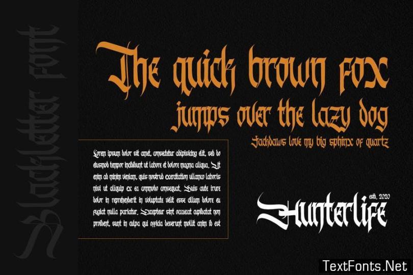 Hunterlife-Blackletter Font