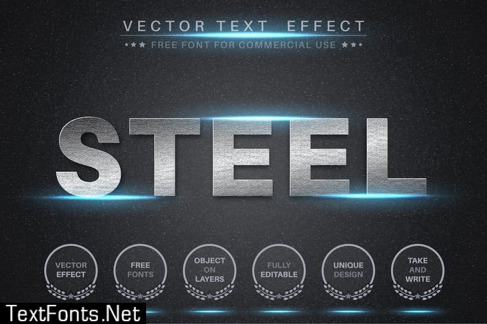 Bright steel - editable text effect, font style ZTWX65S