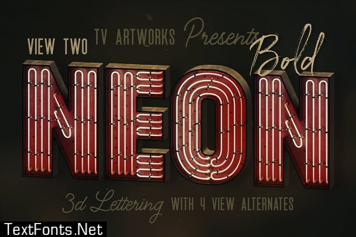 Bold Neon 3D Lettering View 2