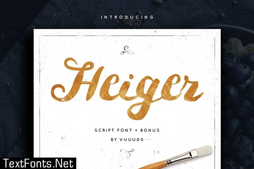 Heiger Script Font + Bonus Vector