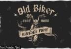 Old Biker. Gothic style vintage label font.