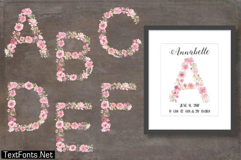 Pink Floral Alphabet