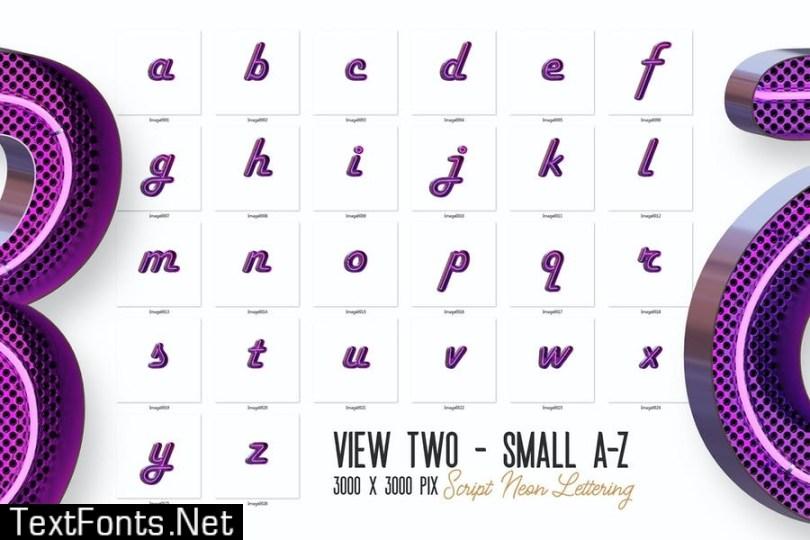 Script Neon 3D Lettering View 2