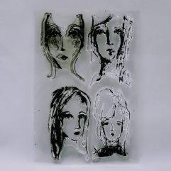 Textielverf en meer stempel 10x15cm gezicht 01