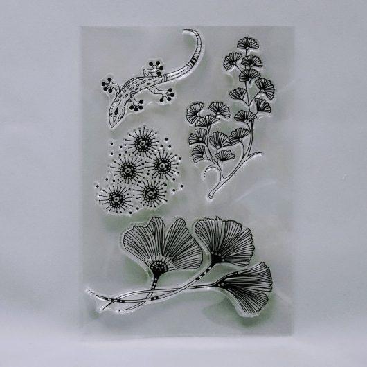 Textielverf en meer stempel 10x15cm ginko